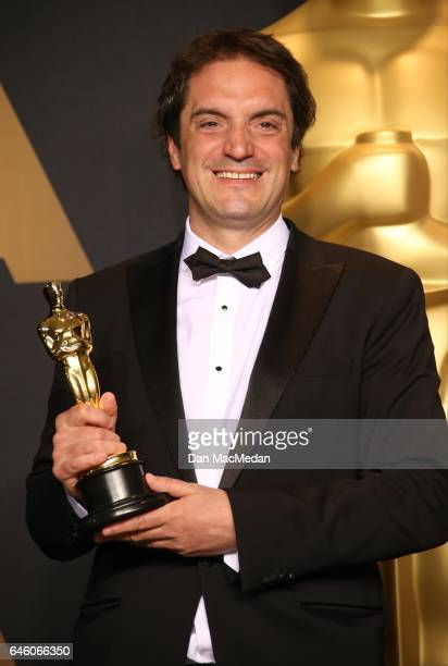 Sylvain Bellemare poses with the Oscar for Best Sound Editing in the press room at the 89th Annual Academy Awards at Hollywood Highland Center on...