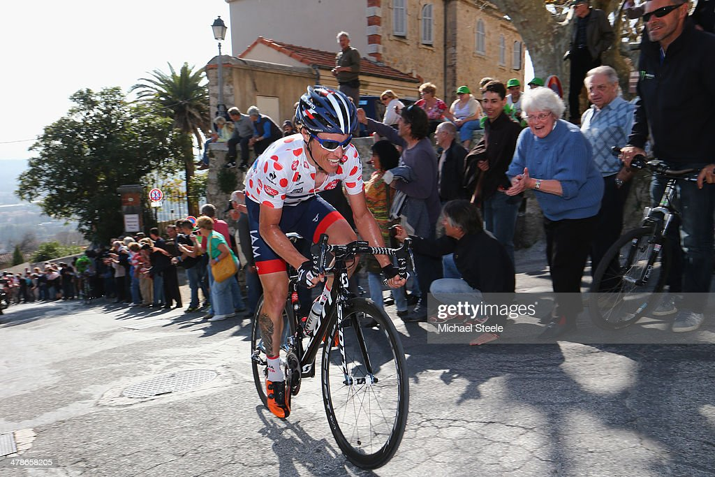<a gi-track='captionPersonalityLinkClicked' href=/galleries/search?phrase=Sylvain+Chavanel&family=editorial&specificpeople=547829 ng-click='$event.stopPropagation()'>Sylvain Chavanel</a> of France and IAM Cycling and mountain jersey leader on the category one climb into Fyence during stage 6 of the Paris-Nice race from Saint-Saturnin-les-Avignon to Fayence on March 14, 2014 in St Saturnin-les-Avignon, France.