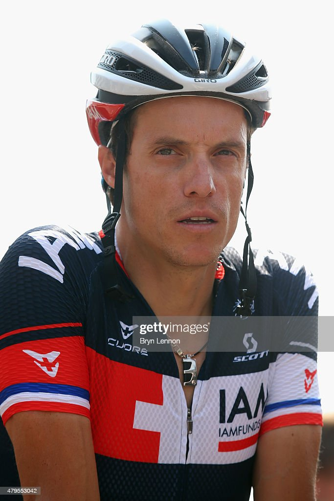 <a gi-track='captionPersonalityLinkClicked' href=/galleries/search?phrase=Sylvain+Chavanel&family=editorial&specificpeople=547829 ng-click='$event.stopPropagation()'>Sylvain Chavanel</a> of France and IAM Cycling looks on at the start of stage two of the 2015 Tour de France, a 166km stage between Utrecht and Zelande, on July 5, 2015 in Utrecht, Netherlands.