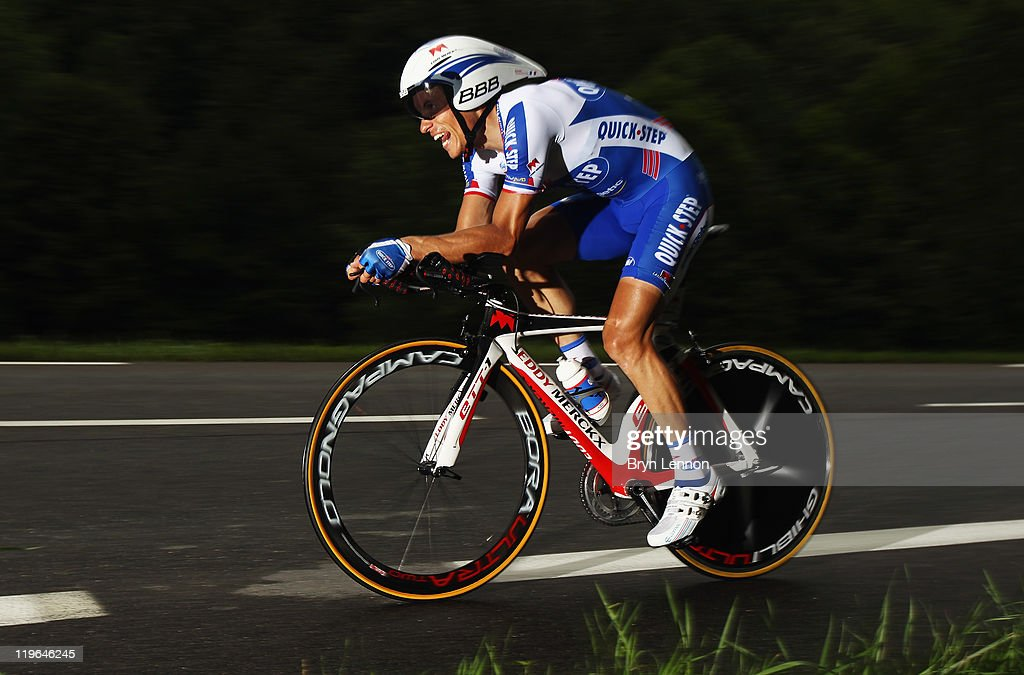<a gi-track='captionPersonalityLinkClicked' href=/galleries/search?phrase=Sylvain+Chavanel&family=editorial&specificpeople=547829 ng-click='$event.stopPropagation()'>Sylvain Chavanel</a> of France and the Quick Step Team in action during stage twenty of the 2011 Tour de France, a 42.5km time trial from Grenoble to Grenoble on July 23, 2011 in Le Sonnant d'Uriage, France.