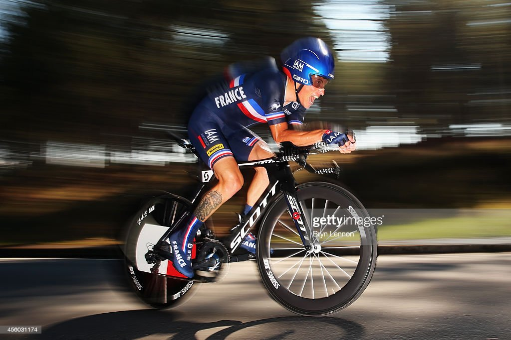 <a gi-track='captionPersonalityLinkClicked' href=/galleries/search?phrase=Sylvain+Chavanel&family=editorial&specificpeople=547829 ng-click='$event.stopPropagation()'>Sylvain Chavanel</a> of France in action in the Elite Men's Individual Time Trial on day four of the UCI Road World Championships on September 24, 2014 in Ponferrada, Spain.