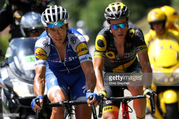 Sylvain Chavanel of France riding for Direct Energie and Philippe Gilbert of Belgium riding for QuickStep Floors ride in a breakaway during stage 13...