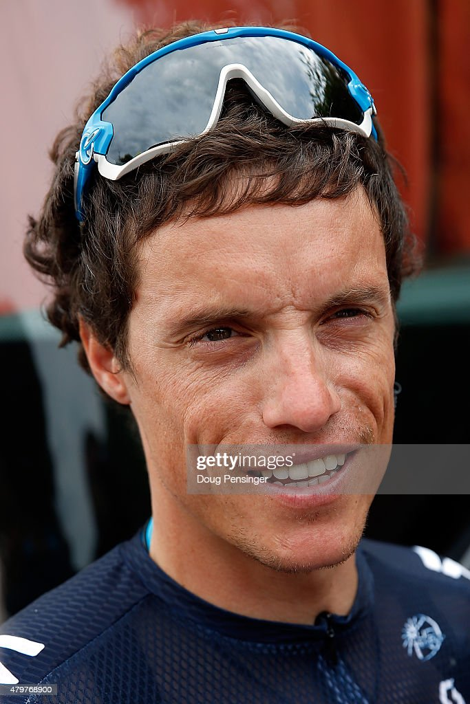 <a gi-track='captionPersonalityLinkClicked' href=/galleries/search?phrase=Sylvain+Chavanel&family=editorial&specificpeople=547829 ng-click='$event.stopPropagation()'>Sylvain Chavanel</a> of France riding for IAM Cycling talks to the media as he prepares for stage four of the 2015 Tour de France from Seraing, Belgium to Cambrai, France on July 7, 2015 in Seraing, Belgium.