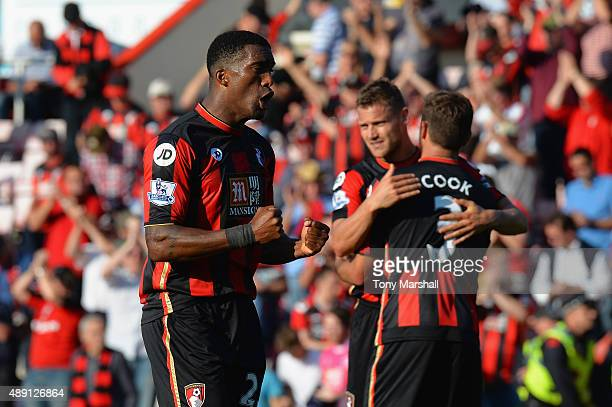 Sylvain Distin of Bournemouth celebrates his team's 20 win in the Barclays Premier League match between AFC Bournemouth and Sunderland at Vitality...