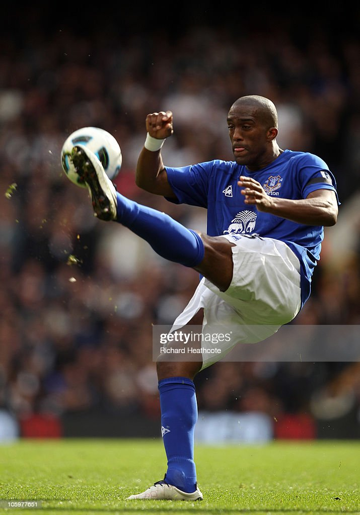 Sylvain Distin of Everton clears the ball during the Barclays Premier League match between Tottenham Hotspur and Everton at White Hart Lane on October 23, 2010 in London, England.