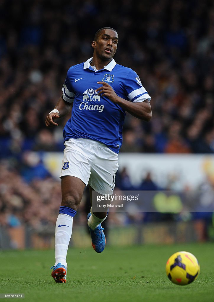 Sylvain Distin of Everton during the Barclays Premier League match between Everton and Tottenham Hotspur at Goodison Park on November 3, 2013 in Liverpool, England.