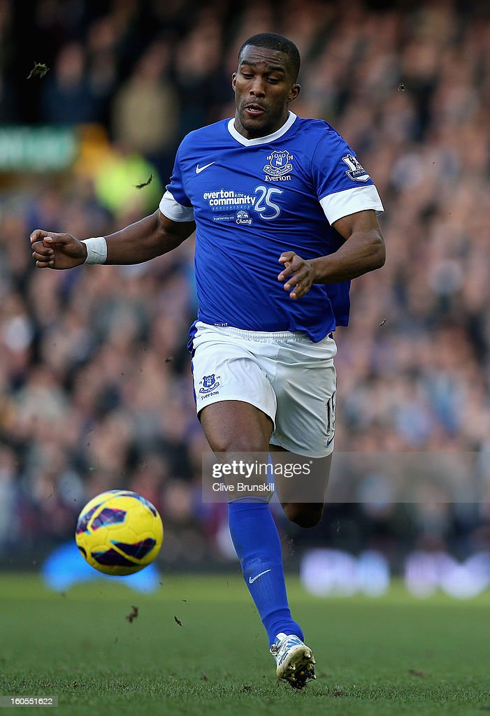 Sylvain Distin of Everton in action during the Barclays Premier League match between Everton and Aston Villa at Goodison Park on February 2, 2013 in Liverpool, England.