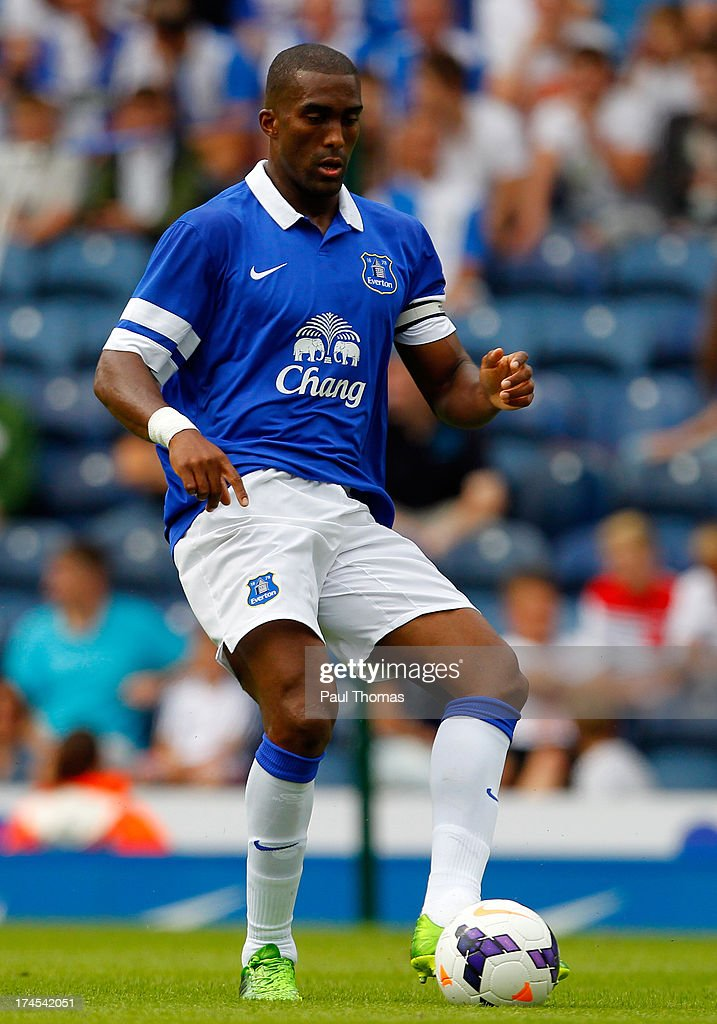 <a gi-track='captionPersonalityLinkClicked' href=/galleries/search?phrase=Sylvain+Distin&family=editorial&specificpeople=213749 ng-click='$event.stopPropagation()'>Sylvain Distin</a> of Everton in action during the Pre Season Friendly match between Blackburn Rovers and Everton FC at Ewood Park on July 27, 2013 in Blackburn, England