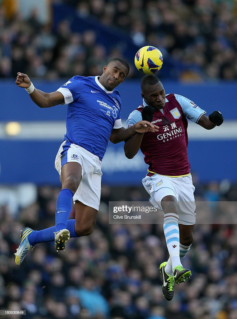 Sylvain Distin of Everton in action with Christian Benteke of Aston Villa during the Barclays Premier League match between Everton and Aston Villa at Goodison Park on February 2, 2013 in Liverpool, England.