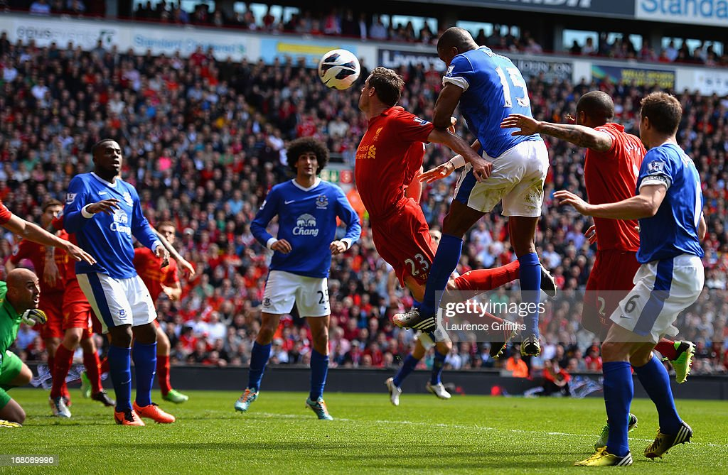 <a gi-track='captionPersonalityLinkClicked' href=/galleries/search?phrase=Sylvain+Distin&family=editorial&specificpeople=213749 ng-click='$event.stopPropagation()'>Sylvain Distin</a> of Everton scores a disallowed goal during the Barclays Premier League match between Liverpool and Everton at Anfield on May 5, 2013 in Liverpool, England.