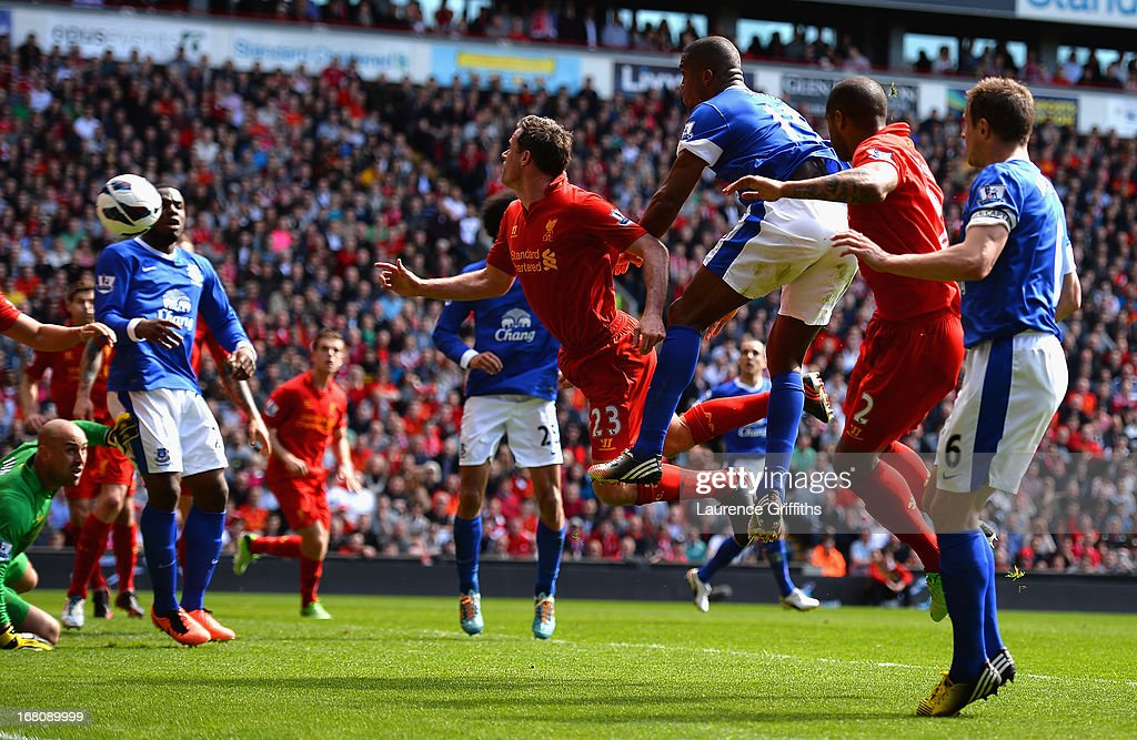 Sylvain Distin of Everton scores a disallowed goal during the Barclays Premier League match between Liverpool and Everton at Anfield on May 5, 2013 in Liverpool, England.