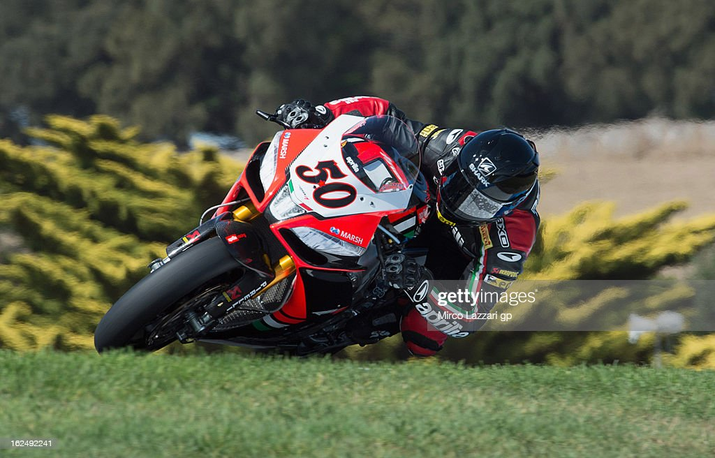 Sylvain Giuntoli of France and Aprilia Racing Team rounds the bend during race 2 of the first round of the 2013 Superbike FIM World Championship at Phillip Island Grand Prix Circuit on February 24, 2013 in Phillip Island, Australia.