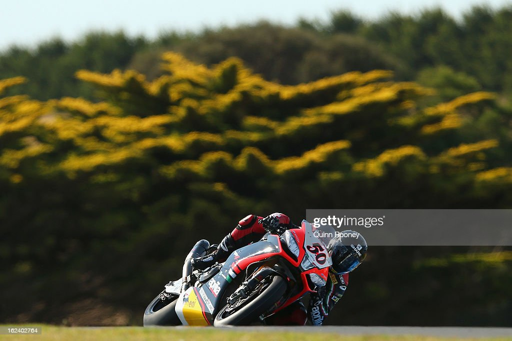 Sylvain Giuntoli of France riding the #50 Aprilia Racing Team during qualifying for the World Superbikes at Phillip Island Grand Prix Circuit on February 23, 2013 in Phillip Island, Australia.