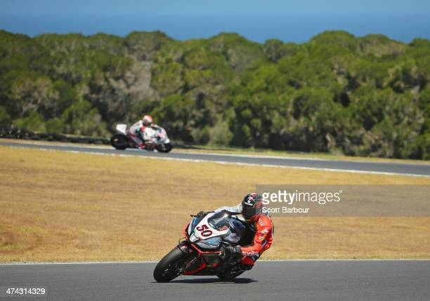 Sylvain Guintoli of France and Aprilia Racing Team leads in race 2 during round one of the 2014 World Superbike Championship at Phillip Island Grand...