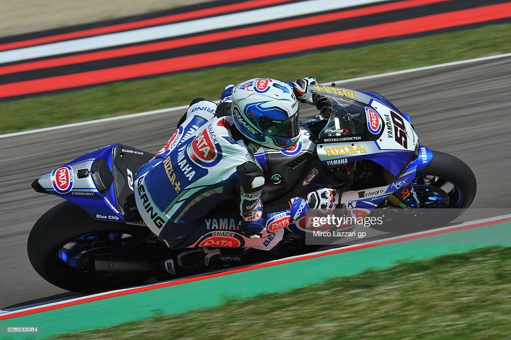 Sylvain Guintoli of France and PATA Yamaha Official WorldSBK Team rounds the bend during during the World Superbikes - Qualifying at Enzo & Dino Ferrari Circuit on April 30, 2016 in Imola, Italy.