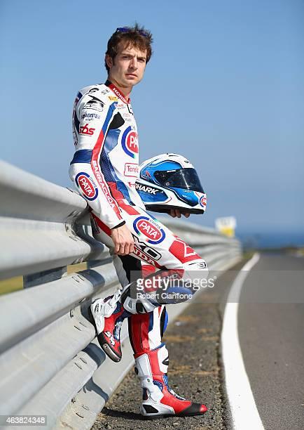 Sylvain Guintoli of France and rider of the Pata Honda World Superbike Team Honda CBR1000RR SP poses ahead of the World Superbikes World Championship...