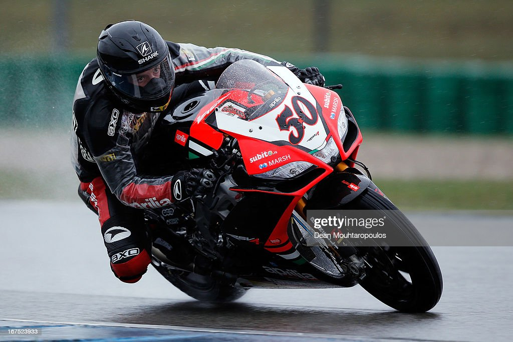 Sylvain Guintoli of France on the Aprilia RSV4 competes during the World Superbikes Practice Session at TT Circuit Assen on April 26, 2013 in Assen, Netherlands.