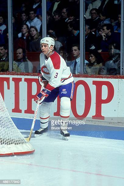 Sylvain Lefebvre of the Montreal Canadiens controls the puck behind the net during the 1992 Division Finals against the Boston Bruins in May 1992 at...
