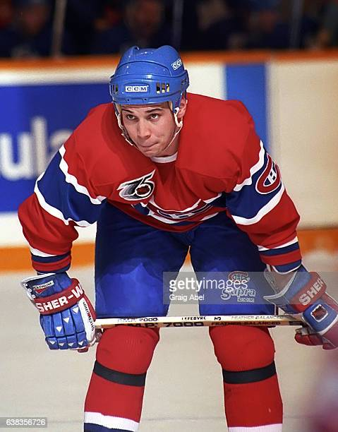Sylvain Lefebvre of the Montreal Canadiens prepares for the faceoff against the Toronto Maple Leafs during NHL game action on December 9 1991 at...