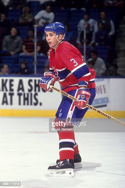 Sylvain Lefebvre of the Montreal Canadiens skates on the ice during an NHL game against the New York Islanders on December 5 1991 at the Nassau...
