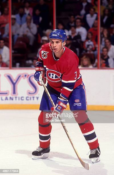 Sylvain Lefebvre of the Montreal Canadiens skates on the ice during an NHL game against the Philadelphia Flyers on October 19 1991 at the Spectrum in...