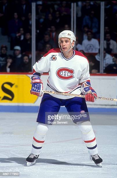 Sylvain Lefebvre of the Montreal Canadiens skates on the ice during an NHL game in November 1991 at the Montreal Forum in Montreal Quebec Canada