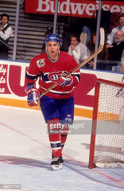 Sylvain Lefebvre of the Montreal Canadiens skates on the ice during an NHL game against the New York Rangers on November 6 1991 at the Madison Square...