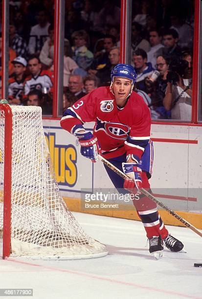 Sylvain Lefebvre of the Montreal Canadiens skates with the puck during an NHL game against the Philadelphia Flyers on October 19 1991 at the Spectrum...