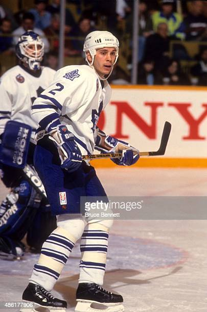 Sylvain Lefebvre of the Toronto Maple Leafs skates on the ice during an NHL game in March 1993 at the Maple Leaf Gardens in Toronto Ontario Canada