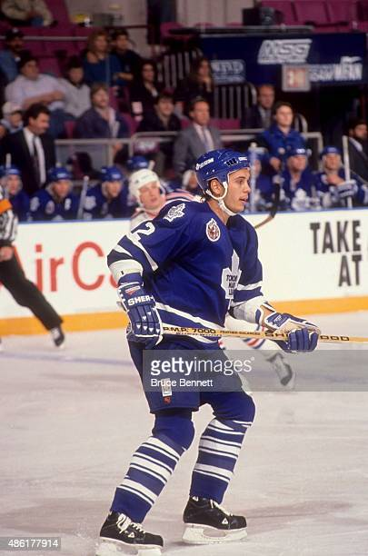 NEW YORK NY OCTOBER 6 Sylvain Lefebvre of the Toronto Maple Leafs skates on the ice during an NHL game against the New York Rangers on October 6 1992...