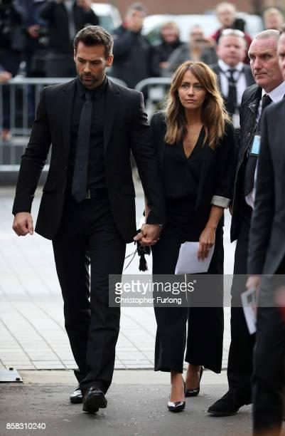 Sylvain Longchambon and Samia Longchambon depart the funeral of actress Liz Dawson at Salford Cathedral on October 6 2017 in Salford England Actress...