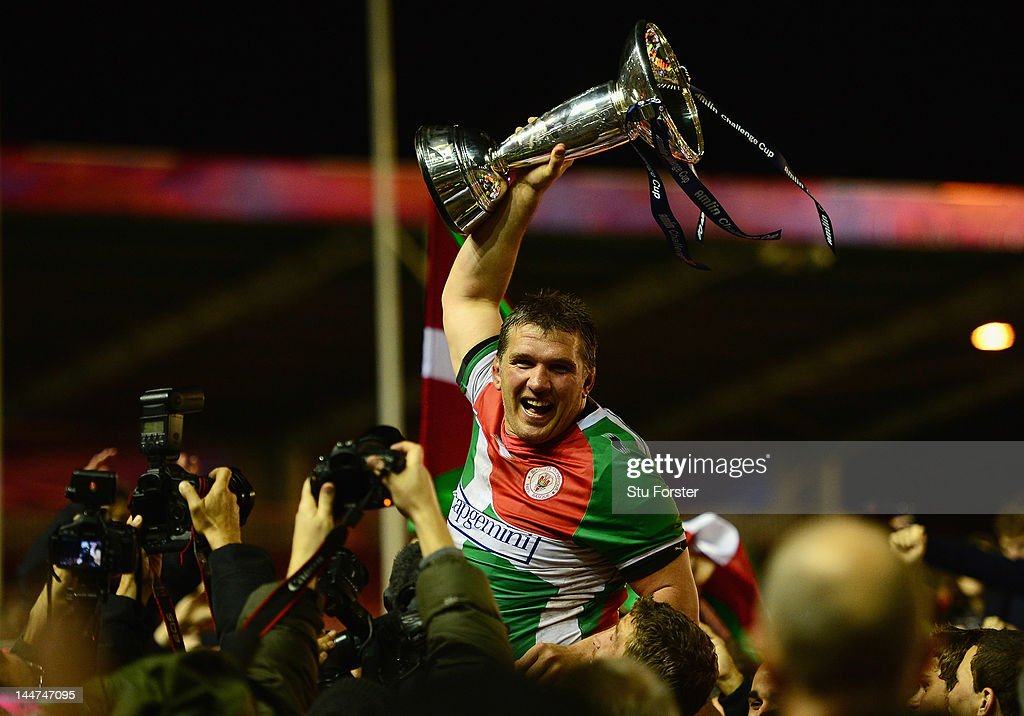 Sylvain Marconnet of Biarritz celebrates with the trophy after the Amlin Challenge Cup Final between Biarritz Olympique and Toulon at the Twickenham...