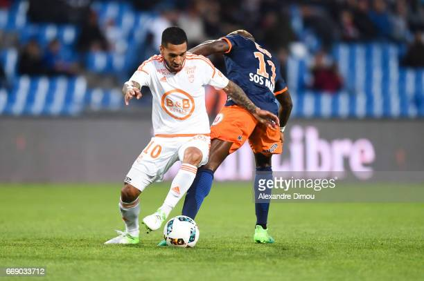 Sylvain Marveaux of Lorient and Jonathan Ikone of Montpellier during the Ligue 1 match between Montpellier Herault SC and Fc Lorient at Stade de la...