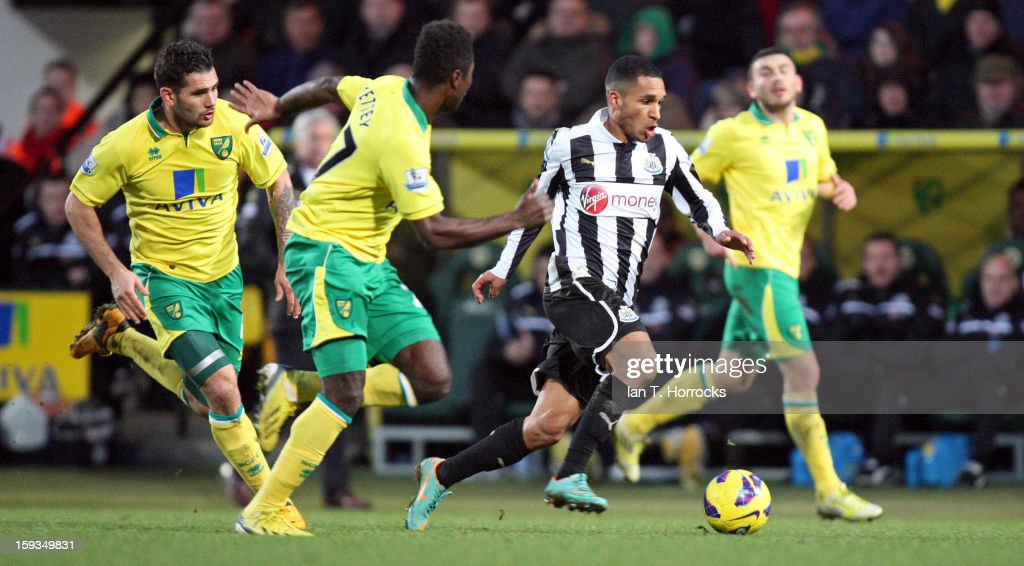 Sylvain Marveaux of Newcastle United attacks the Norwich defence during the Barclays Premier League match between Norwich City and Newcastle United at Carrow Road on January 12, 2013 in Norwich, England.