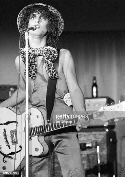 Sylvain Sylvain of New York Dolls performs on stage at the Rainbow Room at the fashion store Biba in Kensington London on 26th November 1973