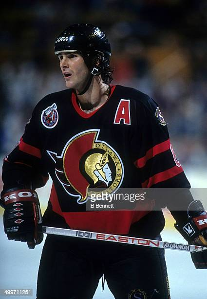 Sylvain Turgeon of the Ottawa Senators skates on the ice during an NHL game against the Buffalo Sabres on November 27 1992 at the Buffalo Memorial...