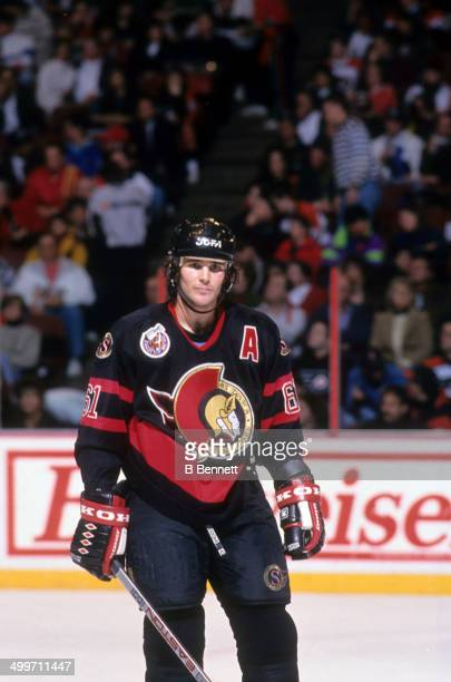 Sylvain Turgeon of the Ottawa Senators skates on the ice during an NHL game against the Philadelphia Flyers on February 9 1993 at the Spectrum in...