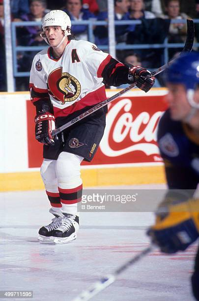 Sylvain Turgeon of the Ottawa Senators skates on the ice during an NHL game against the St Louis Blues on January 26 1993 at the St Louis Arena in St...