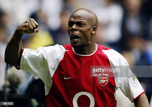 Sylvain Wiltord of Arsenal celebrates after scoring the first goal during the FA Barclaycard Premiership match between Bolton Wanderers and Arsenal...