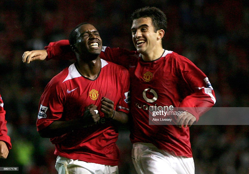 Sylvan EbanksBlake of Manchester United celebrates scoring his goal Giuseppe Rossi during the Carling Cup third round match between Manchester United...