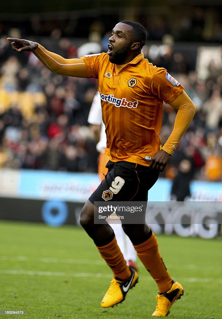 Sylvan Ebanks-Blake of Wolves celebrates after scoring the opening goal of the game during the npower Championship match between Wolverhampton Wanderers and Blackpool at Molineux on January 26, 2013 in Wolverhampton, England.