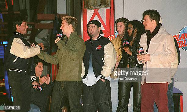 Sylvester Stallone Ananda Lewis and *NSYNC during Opening of Planet Hollywood/The Sequel in NYC's Times Square at Planet Hollywood Times Square in...