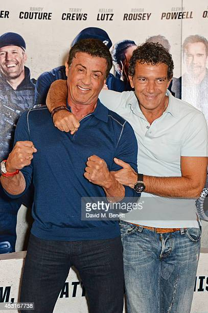 Sylvester Stallone and Antonio Banderas attend a photocall for 'The Expendables 3' at the Corinthia Hotel London on August 4 2014 in London England