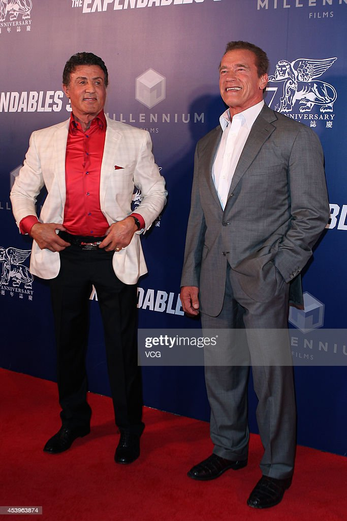 <a gi-track='captionPersonalityLinkClicked' href=/galleries/search?phrase=Sylvester+Stallone&family=editorial&specificpeople=202604 ng-click='$event.stopPropagation()'>Sylvester Stallone</a> (L) and <a gi-track='captionPersonalityLinkClicked' href=/galleries/search?phrase=Arnold+Schwarzenegger&family=editorial&specificpeople=156406 ng-click='$event.stopPropagation()'>Arnold Schwarzenegger</a> arrive a special screening of 'The Expendables 3' at The Venetian Macao on August 22, 2014 in Macau, Macau.