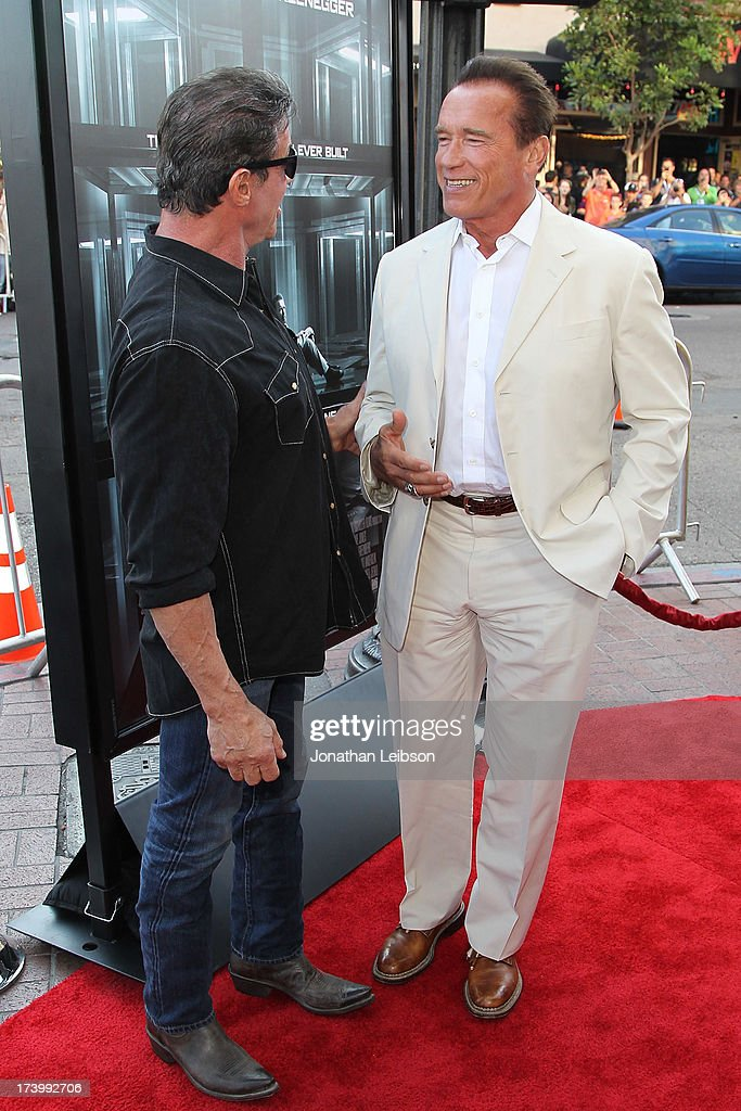 <a gi-track='captionPersonalityLinkClicked' href=/galleries/search?phrase=Sylvester+Stallone&family=editorial&specificpeople=202604 ng-click='$event.stopPropagation()'>Sylvester Stallone</a> and <a gi-track='captionPersonalityLinkClicked' href=/galleries/search?phrase=Arnold+Schwarzenegger&family=editorial&specificpeople=156406 ng-click='$event.stopPropagation()'>Arnold Schwarzenegger</a> attend the 'Escape Plan' Premiere - Comic-Con International 2013 at Reading Cinemas Gaslamp on July 18, 2013 in San Diego, California.