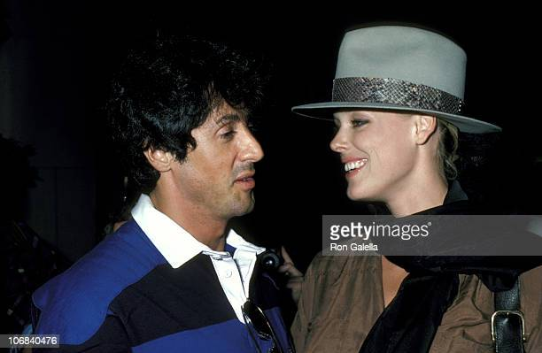 Sylvester Stallone and Brigitte Nielsen during Sylvester Stallone and Brigitte Nielsen Sighting at the Carlyle Hotel in New York City August 22 1986...