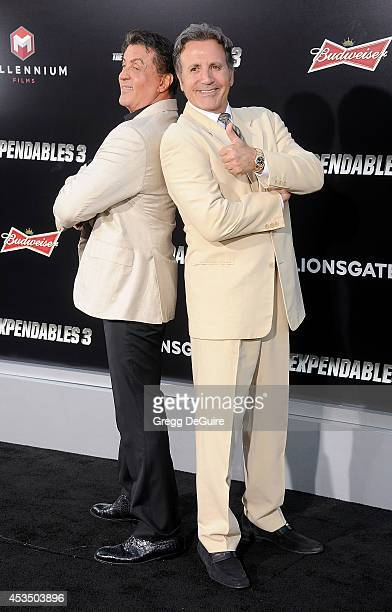 Sylvester Stallone and brother Frank Stallone arrive at the Los Angeles premiere of 'The Expendables 3' at TCL Chinese Theatre on August 11 2014 in...
