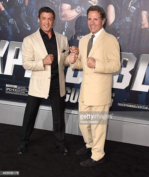 Sylvester Stallone and Frank Stallone arrives at the 'The Expendables 3' Los Angeles Premiere at TCL Chinese Theatre on August 11 2014 in Hollywood...