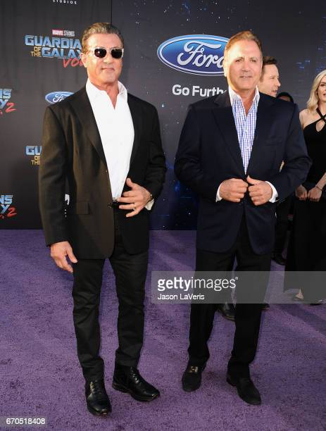 Sylvester Stallone and Frank Stallone attend the premiere of 'Guardians of the Galaxy Vol 2' at Dolby Theatre on April 19 2017 in Hollywood California