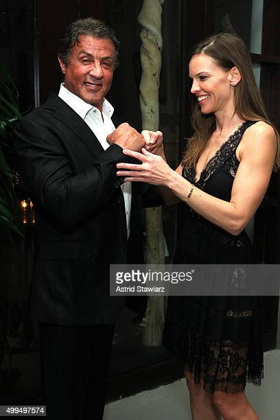 Sylvester Stallone and Hilary Swank attend DuJour Magazine's Jason Binn Celebrates Annual Art Basel Miami Beach KickOff Party at Delano Beach Club on...